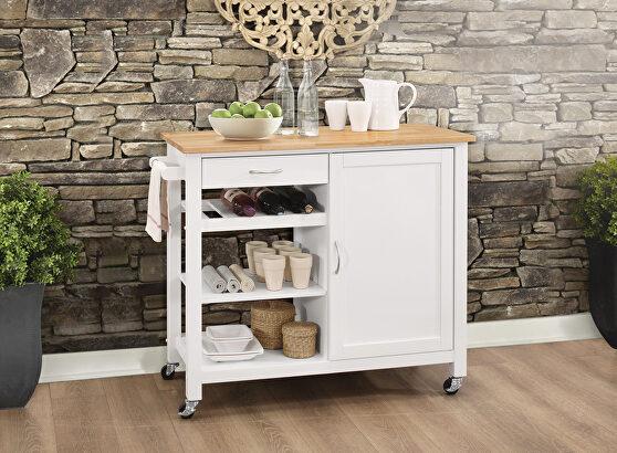 Natural & white kitchen cart