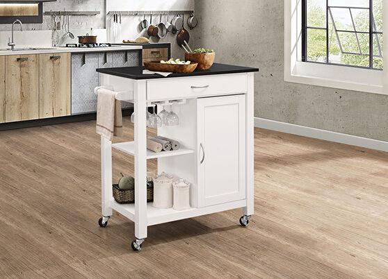Black & white kitchen cart