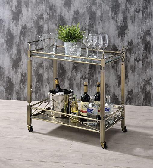 Antique gold & clear glass serving cart
