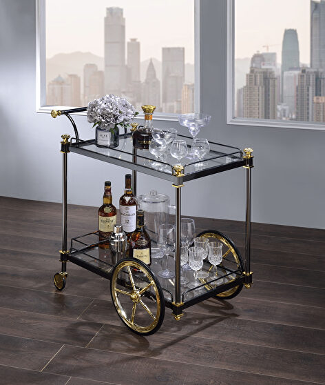 Black/gold & clear glass serving cart