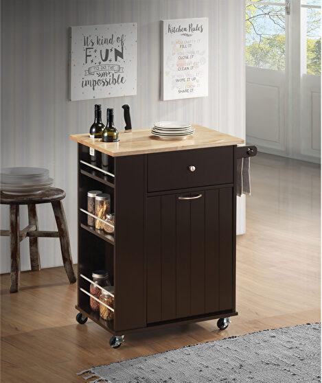 Natural & wenge kitchen cart