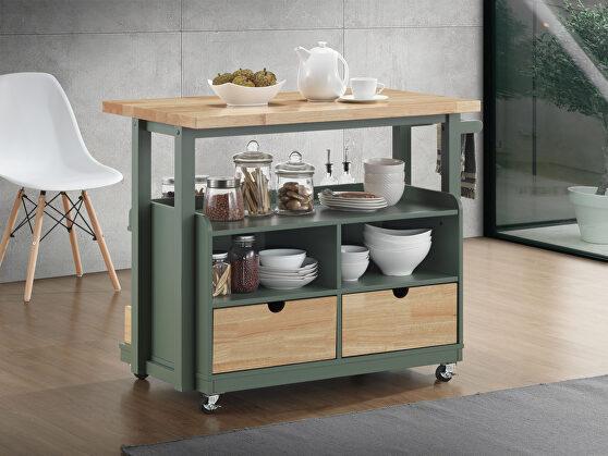 Natural & green kitchen cart