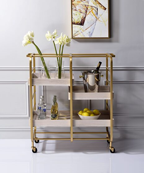Gold & white-washed serving cart