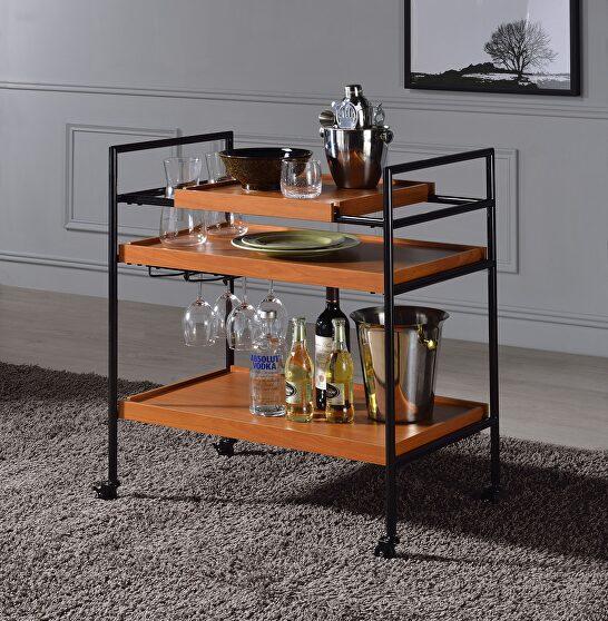 Honey oak & black serving cart
