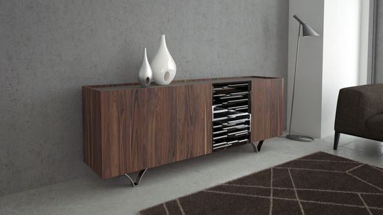 Walnut / contemporary buffet / display unit