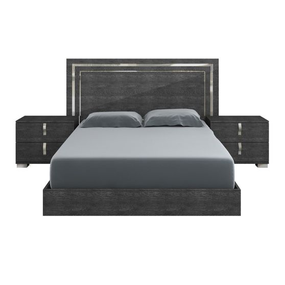 Elegant king bed in gray high gloss finish