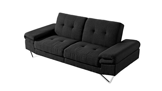 Sleek modern black fabric sofa w/ adjustable armrests