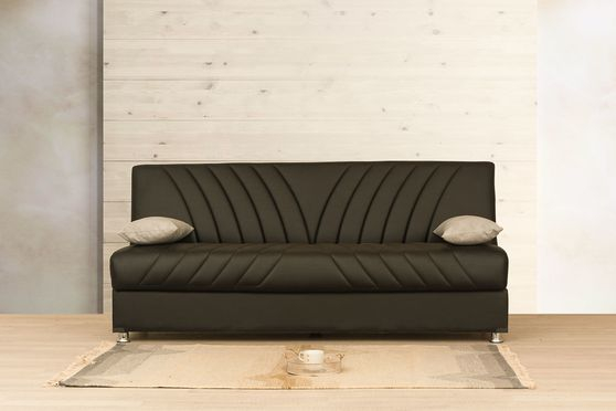 Brown pu storage sofa bed