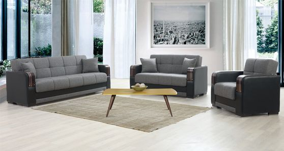 Gray / black storage sofa bed w/ wooden arms