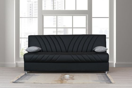 Black pu leather sofa bed
