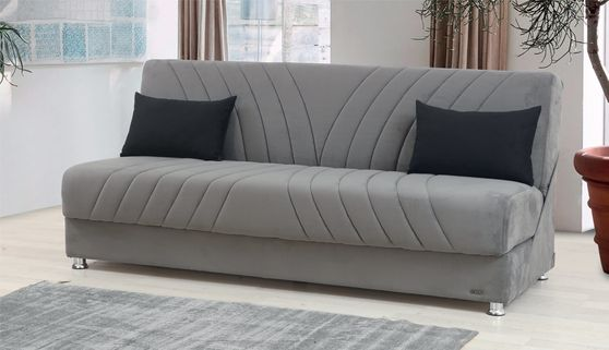 Microfiber sofa bed w/ storage compartment