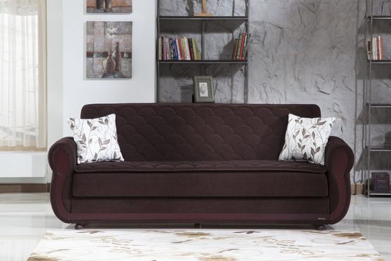 Dark brown fabric sofa bed w/ storage