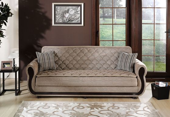 Light brown fabric sofa bed w/ storage
