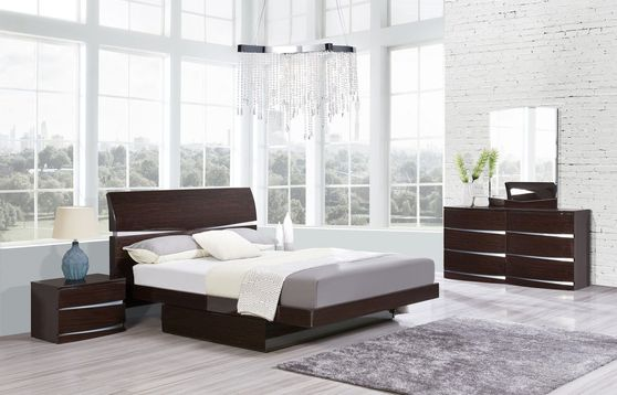 High gloss finish dark wenge 5pcs bedroom set