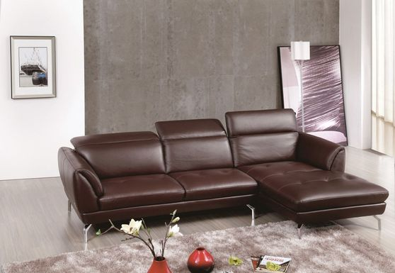 Quality 2pcs sectional sofa in brown leather