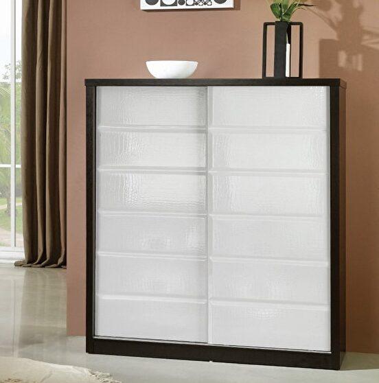 Wenge frame / alligator skin sliding door cabinet