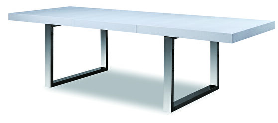 Stainless steel / white crocodile pattern extension table