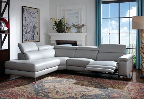 Full leather gray sectional w/ electric recliner