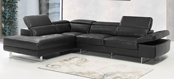 Black leather contemporary sectional w/ moving headrests