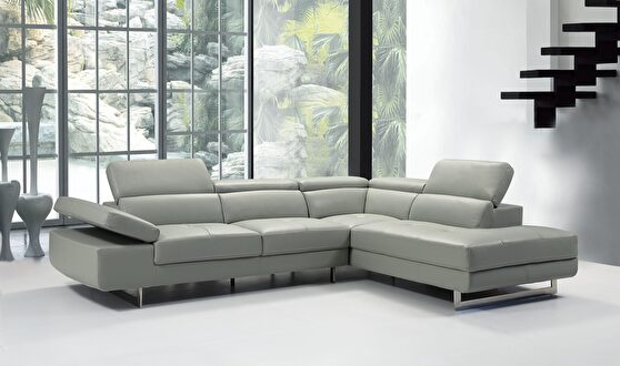 Light gray leather contemporary sectional w/ moving headrests