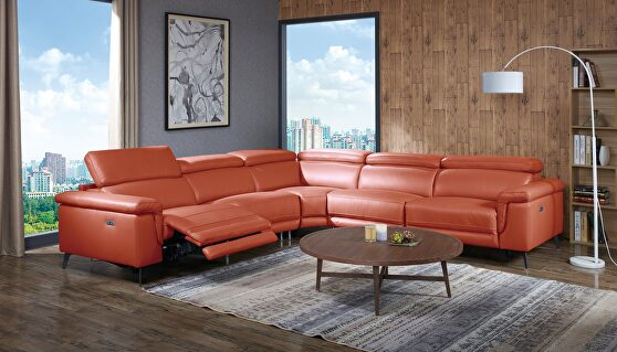 Orange full leather recliner sectional sofa