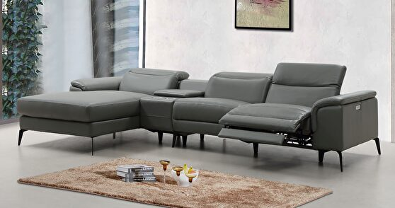 Gray motion recliner sectional w/ adjustable headrests