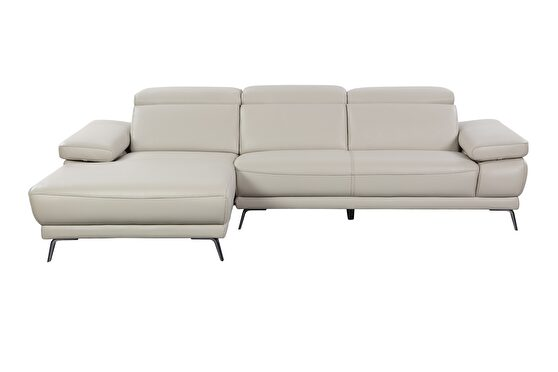 Full taupe leather sectional sofa