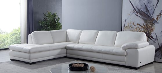 Left-facing white leather low-profile modern sectional