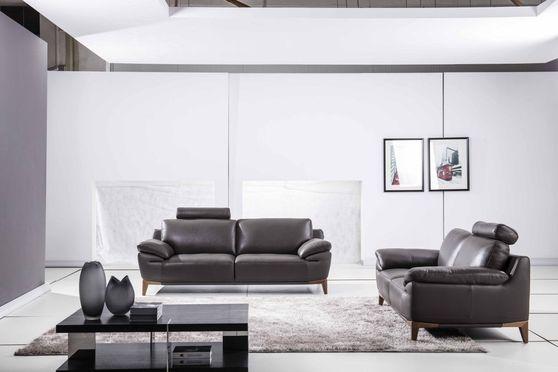 Modern gray leather sofa w/ adjustable arms