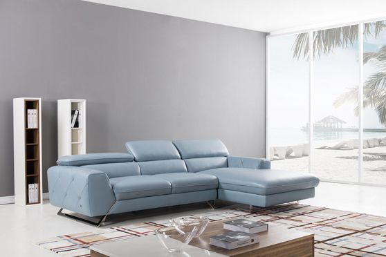 Modern low-profile sectional in aqua leather