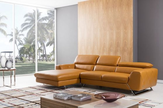 Modern low-profile sectional in pumpkin leather