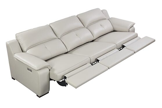 Thick leather oversized recliner sofa w/ 2 recliners