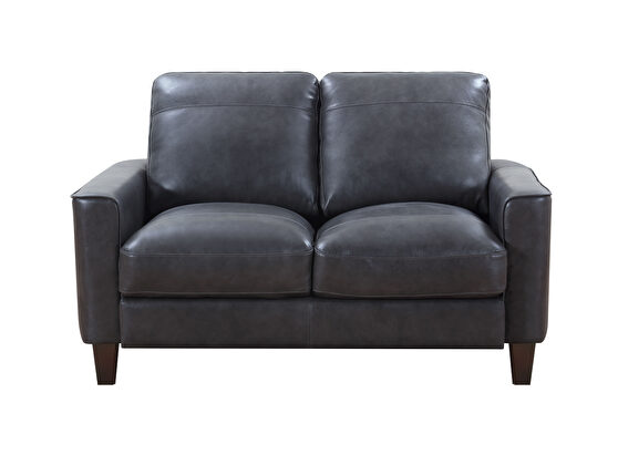 Heritage gray leather / split casual style loveseat