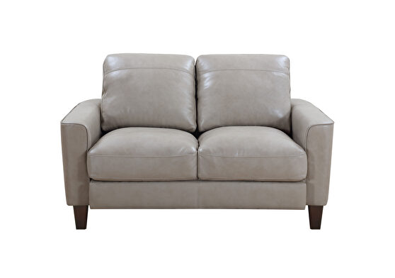 Taupe leather / split casual style loveseat