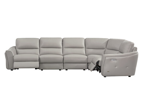 5pcs full leather sectional w/ electric recliners