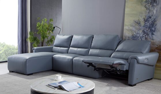 Electric recliner aqua blue gray leather sectional