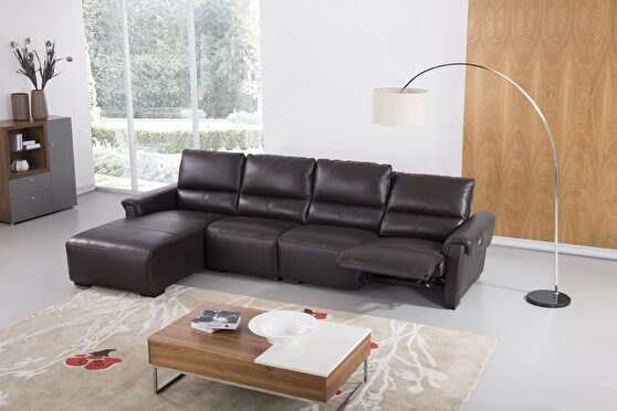 Electric recliner mustard leather sectional
