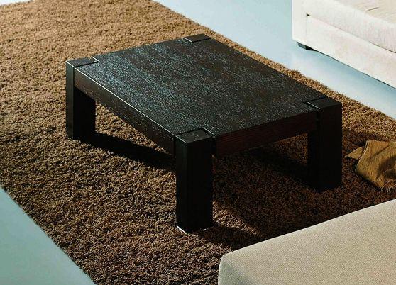 Oak veneer dark brown low-profile coffee table