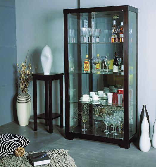 Glass china cabinet in wenge wood finish