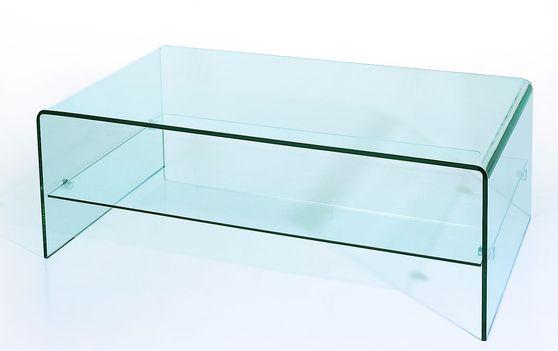 All-glass modern coffee table w/ shelf