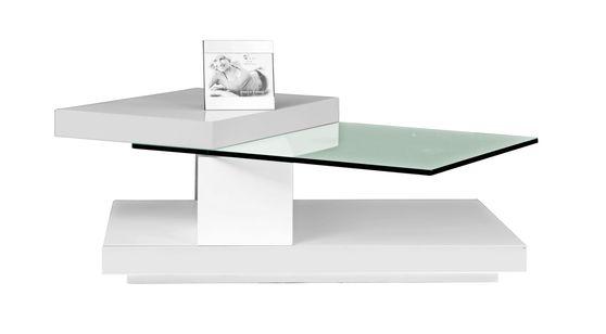 White high-gloss swivel top coffee table