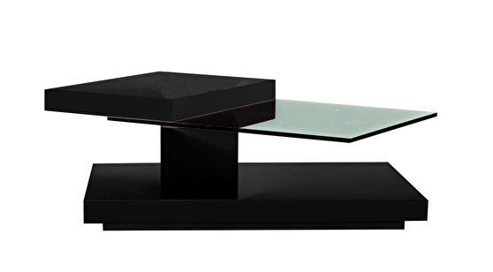 Black high-gloss swivel top coffee table