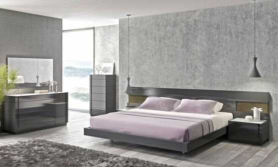 Premium quality low-profile wide headboard bed