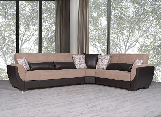Reversible sand on brown pu sectional w/ storage