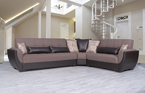 Reversible cacao on brown pu sectional w/ storage