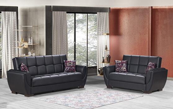 Black pu leatherette sleeper sofa w/ storage