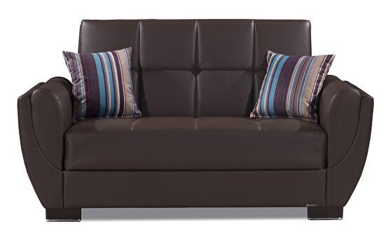 Brown pu leatherette sleeper loveseat w/ storage