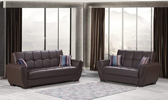 Brown pu leatherette sleeper sofa w/ storage