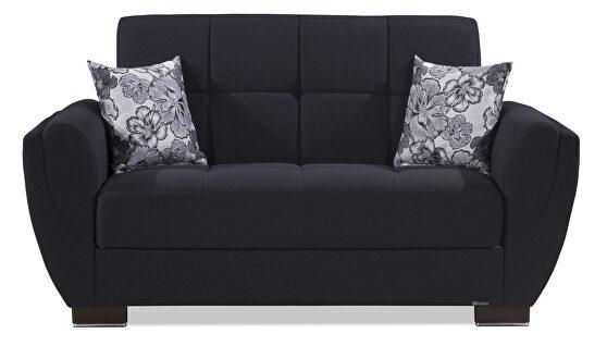 Black fabric sleeper loveseat w/ storage