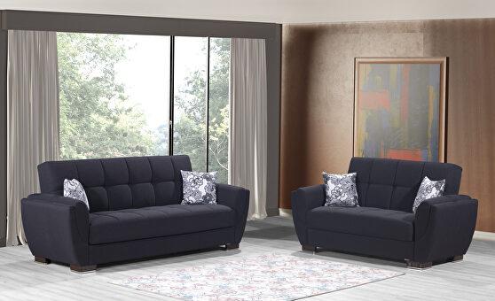 Black fabric sleeper sofa w/ storage